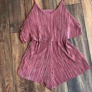 Pink pleated romper